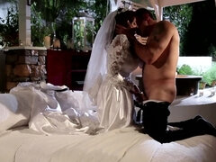 Just married horny couple is having wedding night sex