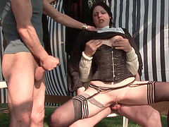 young french nun sodomized in three-way with Papy hidden cam