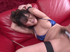 youthful japanese brown-haired is tied up and played with