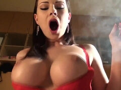 Busty babe Abbie in fetish smoking and POV blowjob video