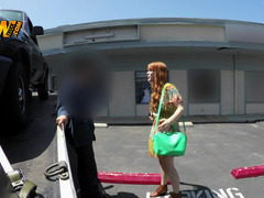 Rookie ginger sucks and rides love pole of taxi driver