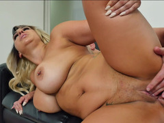 Buxom blonde bitch Nina Kayy is ready to test a big meat pole