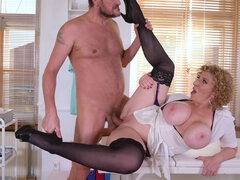 Naughty blonde milf spreads legs to get a fuck