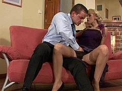 Fancy dress blonde loves oral