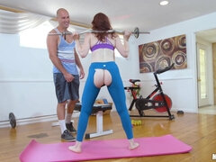 Kinky lovers meet in the gym where they make furious sex
