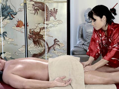 Gorgeous oriental masseuse Rina Ellis shows her secret relaxation techniques
