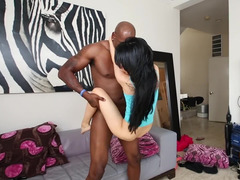 Russian babe is pulling on a sizeable black fuck pole & has interracial sex