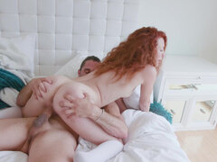 Ginger dream girl Luna Light takes a gooey splash of cum all over her super fit body