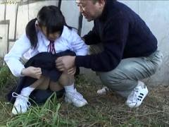 Tiny Oriental 18-19 year aged bitch sucks aged mans penis outdoors with enjoyment