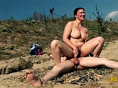 chesty naturist babe Fucked on the Beach By Strangers