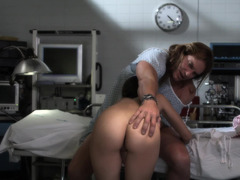 A girl with pigtails is getting fucked in the hospital