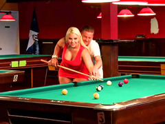 Slightly fat blonde bitch fucked on the pool table so well