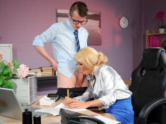 Alice Judge is sucking Sam Bourne's cock in the office