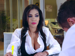 Busty bitch is having fun with her coworker in the office room