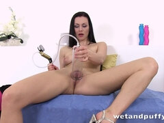 girl rubbing her bald pussy