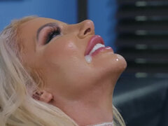 Boss lady Nicolette Shea confronts her employee to finish her off