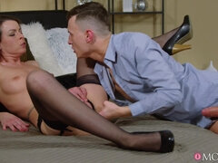 Dark-haired lady gets ass and pussy fucked by turns