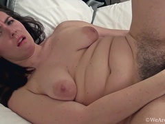 Sharlyn enjoys her hairy pussy and a pink toy