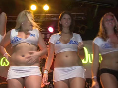 Yes-girls take part in a wet T-shirt contest