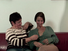 Old slut can't stop having lesby sex with less seasoned partner