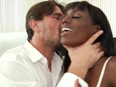 Ebony Ana Foxxx get all of her holes slammed by white prick