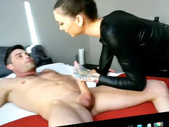 Torturing Big nut and schlong in nylon boxers with vibrator, Loud Orgasm