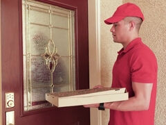 Eva Notty fucks pizza guy's huge sausage & swallows the sauce