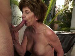 Kinky sex section with a excited brunette granny and a young stud