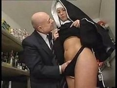 Nun & A Dirty Old Fella Get To Playing Around With Her Vag