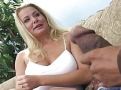 Blonde wife cheats for big black purple rod of Blackzilla