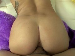 Tattooed lady with a big booty rides a thick meat pole so well