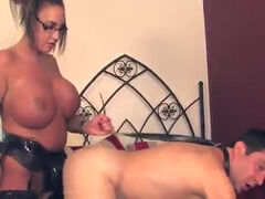 Housewife dark haired lady is a slavemaster