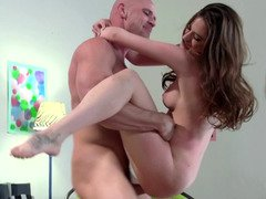 Adorable brunette teen gets manhandled in this hot banging scene
