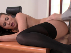 Adorable dark haired secretary is desirous to quench her well hung boss