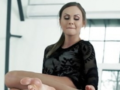 Elegant girl gets her sexy feet creamed after slow sex
