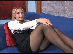 Boobalicious blonde Mom i`d like to fuck teases in sheer black pantyhose