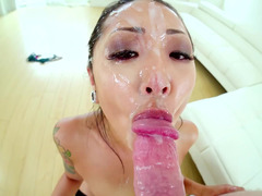 Jonni Darkko enjoys deep throat of crazy Asian diva