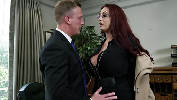 Luke Hardy nails busty Emma Butt and Alessandra Jane in office