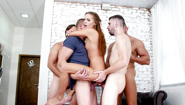 Hot girl gets gangbanged by four guys in fivesome sex orgy