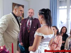 Submissive bride humiliated and jizzed on