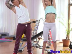 Athletic cutie seduces her gym trainer