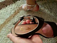 bambi sandal shoes highheel black fucking and cum