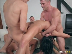 Sex-loving busty brunette Adriana Chechik double penetrated by two lucky men
