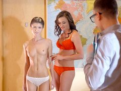 Nerdy teacher has an intercourse attractive student and her lusty stepmom