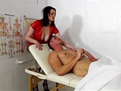 Latex nurse rides a large fuck pole
