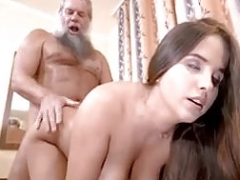 Young and fresh busty girl with mature lucky man