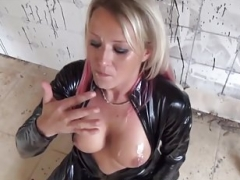 Hoe With Blonde & Red Hair In Black Latex Cat Suit Fucked