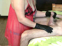 leather gloves girlfriend hand-job