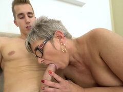 Filthy granny Jessye gets fucked by a young stud