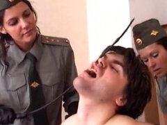 Two russian police bitches gag & torture a tied up man